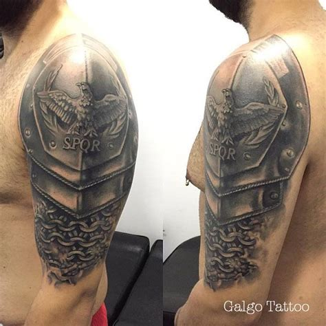 roman armor tattoo armor arm shoulder my work