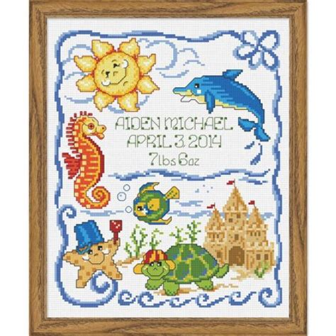 Cross Stitch Birth Records Baby By Herrschners The Sea Birth Record Counted Cross Stitch Kit Walmart