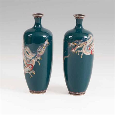 Narrow Vases by A Pair Of Small Narrow Neck Cloisonn 233 Vases With