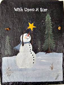 items similar to painted slate wish upon a star snowman on etsy