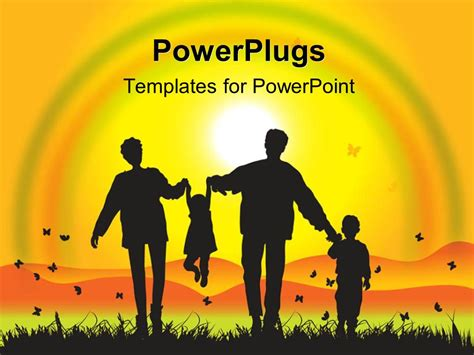 family will template powerpoint template family enjoying sunset with rainbow