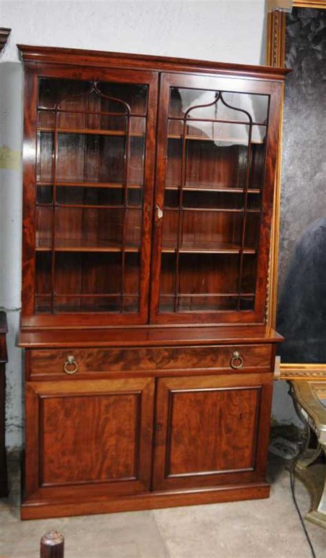 Regency Mahogany Bookcase Glass Fronted Display Cabinet Glass Fronted Bookshelves