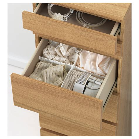 Malm 6 Drawer Chest With Mirror by Malm Chest Of 6 Drawers Oak Veneer Mirror Glass 40x123 Cm