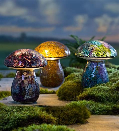 glass mushroom solar lights glass mosaic mushroom lawn ornament garden statuary