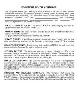 rental equipment contract template rental contract 7 free pdf doc sle templates