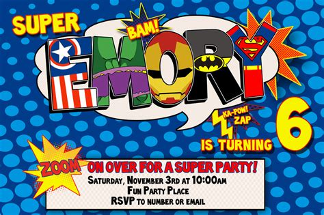 free printable superhero birthday party invitations