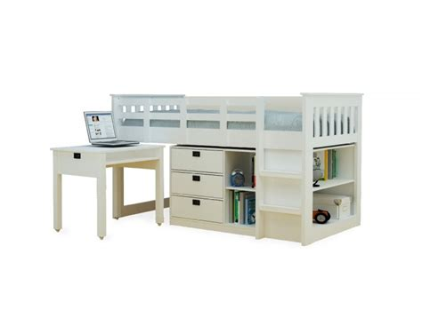 White Metal Mid Sleeper by Metal Beds White Midi Study Bunk Bed By Metal Beds Ltd
