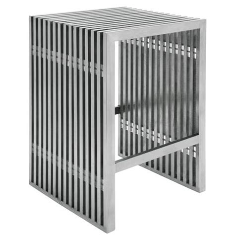 vintage steel industrial modern counter stool kathy kuo home holden industrial loft stainless steel slatted modern