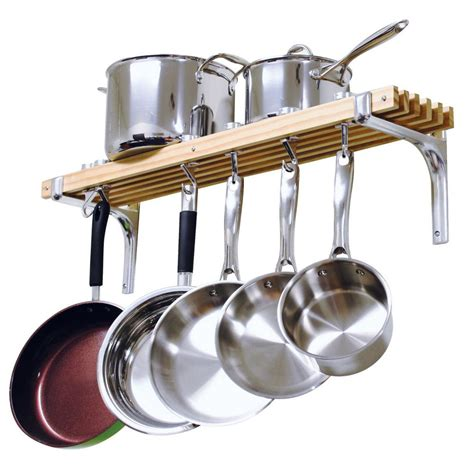 Pot And Pan Rack Home Depot cooks standard 36 in wooden wall mounted pot rack nc 00267 the home depot