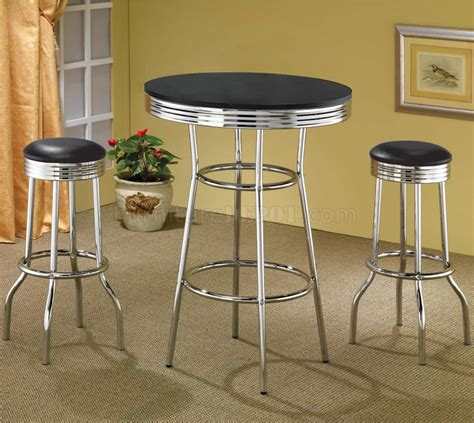 bar top table sets black table top chrome base modern 3pc bar set