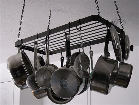 Overhead Pot And Pan Holder Best Placing Low Ceiling Pot Rack For Your Kitchen Ideas