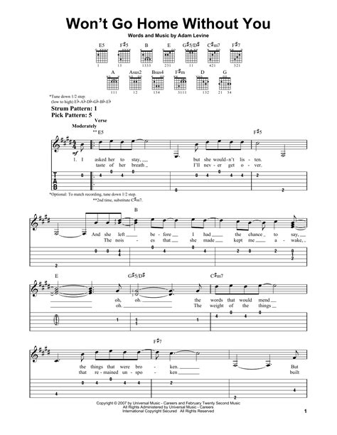 won t go home without you by maroon 5 easy guitar tab
