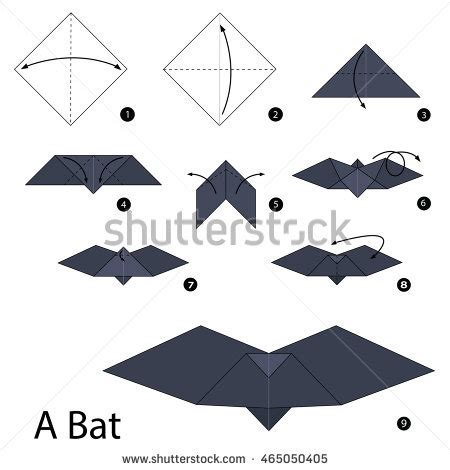 printable origami bat instructions step by step instructions how make stock vector 465050405