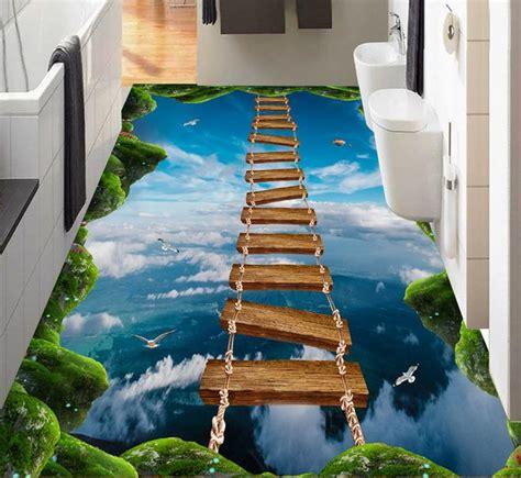 floor art custom pvc waterproof  adhesive wallpaper
