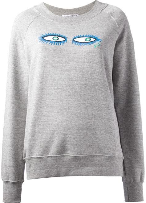 Mk2082 Eye Sweater Grey grey print oversized sweater spijkers en spijkers eye print sweatshirt where to buy how to wear