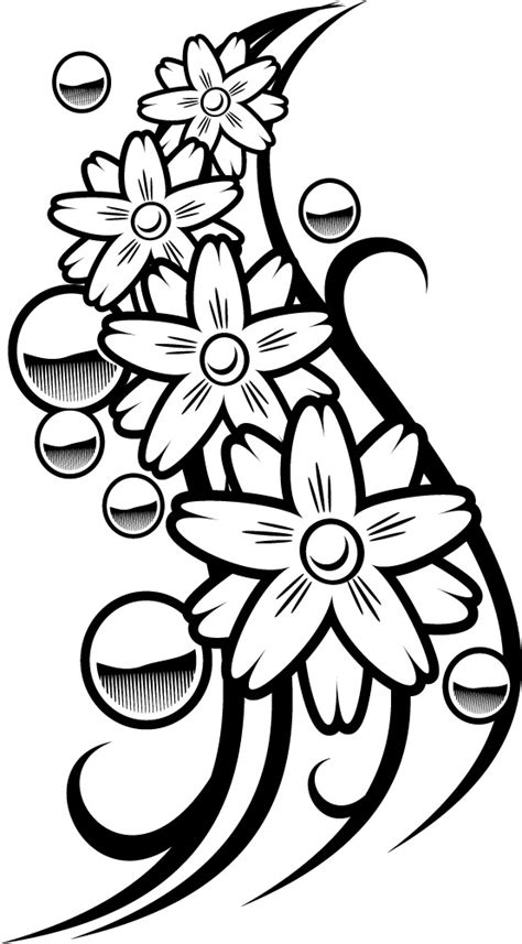 colouring page of a flower balls tattoo for coloring