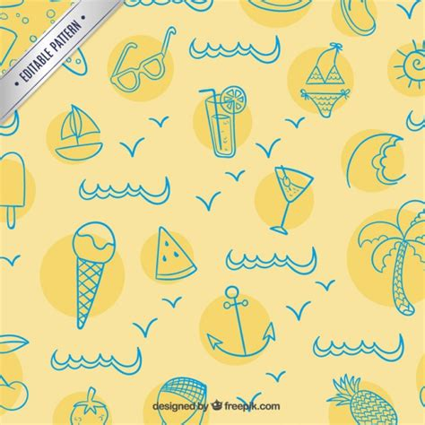 vector pattern summer summer pattern in sketchy style vector free download