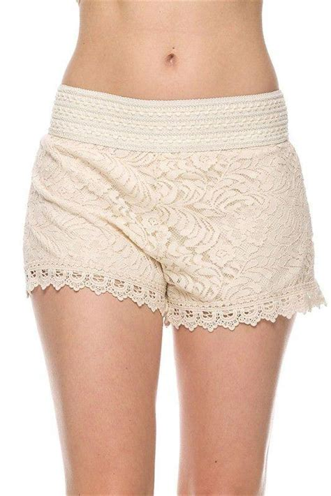 Bs Scallop Pant 1 floral lace crochet banded waist scalloped hem mini