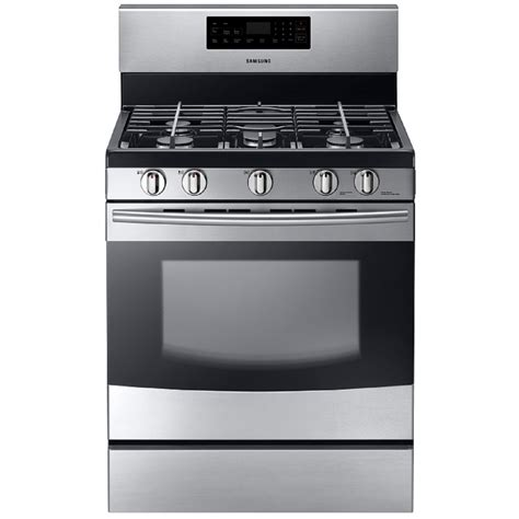 stainless steel range shop samsung 5 burner freestanding 5 8 cu ft self cleaning gas range stainless steel common