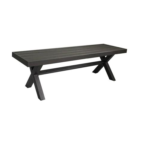 white patio bench shop 56 in w x 16 in l brown steel patio bench at lowes com