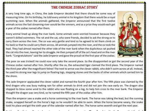 new year zodiac story the zodiac story reading comprehension worksheet