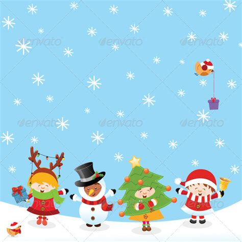 kids with christmas costumes by pinarince graphicriver