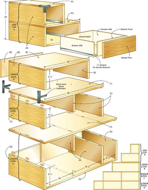 Stairs Drawers Plans by Build Your Own Storage Chest Woodworking Projects Plans