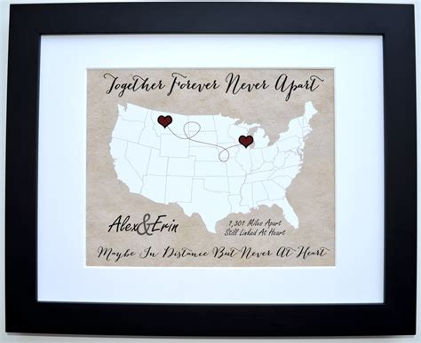 personalized wedding gift customized long distance love a long distance relationship gift custom for couple two by