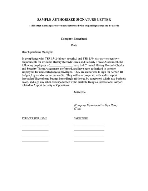authorization letter airport airport sle authorized signature letter in word and pdf