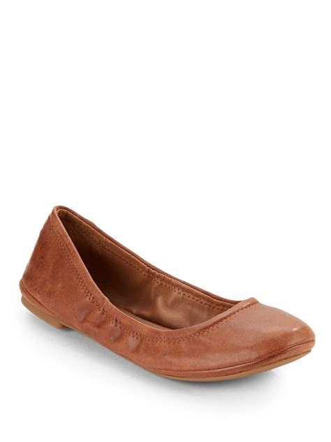leather ballet flats lucky brand elysia leather ballet flats in brown lyst
