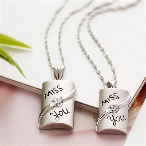 gifts for couples quot miss you quot couples 925 sterling silver necklaces pendants