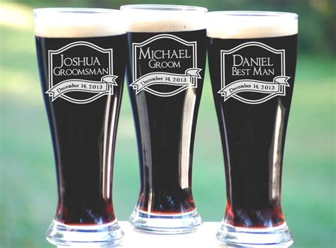 personalized gifts groomsmen gift 5 personalized beer glasses by
