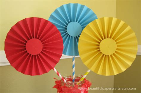 Make Paper Fan Decorations - 3 6 circus carnival rosettes centerpieces paper fans