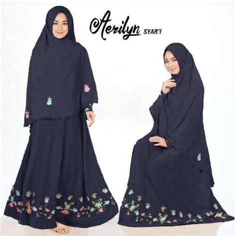 Jilbab Syari Bahan Crepe Baju Gamis Aerlyn Syar I Crepe Bordir Busana Muslim Polos