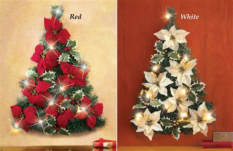 collections etc led lighted poinsettia christmas tree wall