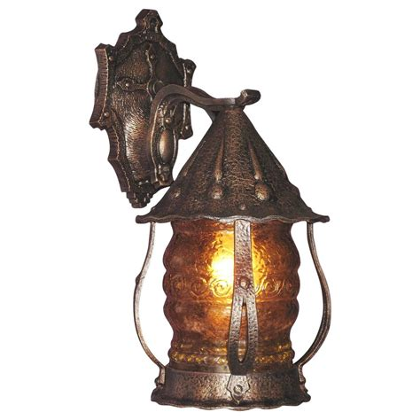 1920s Storybook Style Porch Light With Original Glass For Fashioned Lights For Sale