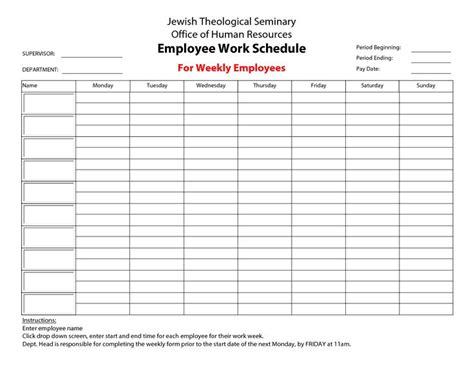 employee work schedule template docs schedule
