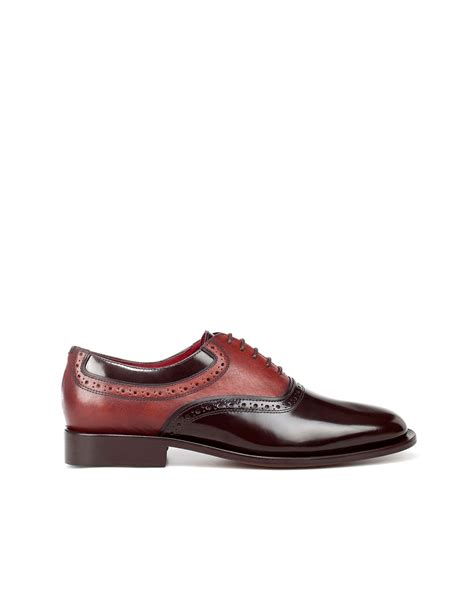 2 tone oxford shoes zara combined oxford shoe in brown for two tone lyst