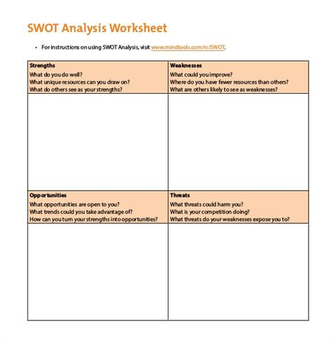 swot analysis template pdf swot worksheet mmosguides