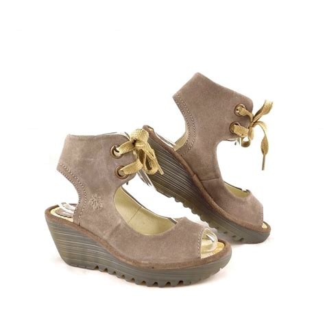 fly yaffa sandal fly yaffa wedge sandals with ankle cuff in taupe