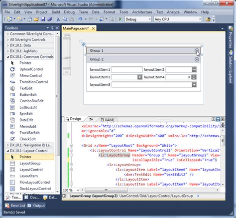 layout menu visual studio 2010 silverlight layout control design time support in visual