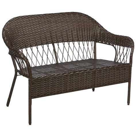 kmart garden bench essential garden concord wicker loveseat brown limited