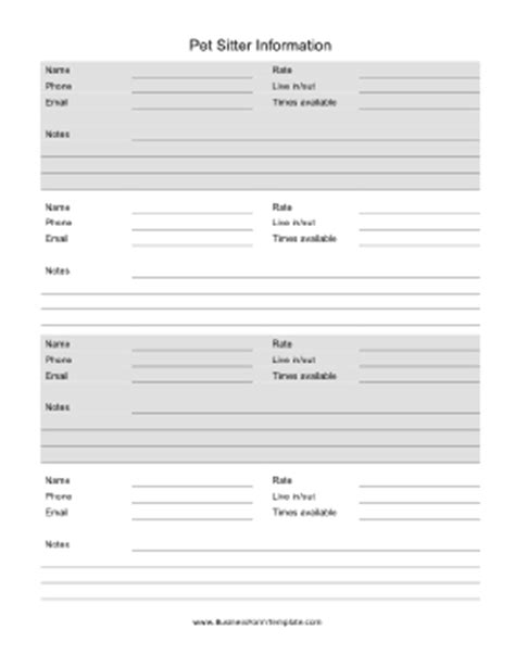 Petsitter Information Template Pet Sitting Templates Free
