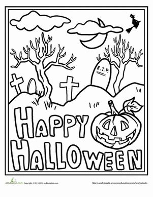 educational halloween coloring pages happy halloween worksheet education com