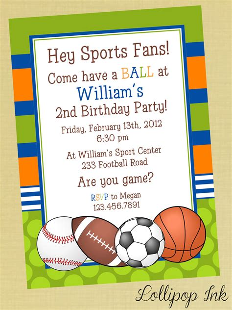 invitation wordings for sports event sports printable birthday invitation personalized sports birthday invite birthday boy