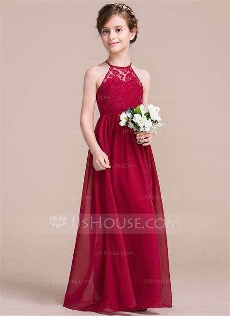 Dress Flower a line princess floor length flower dress chiffon