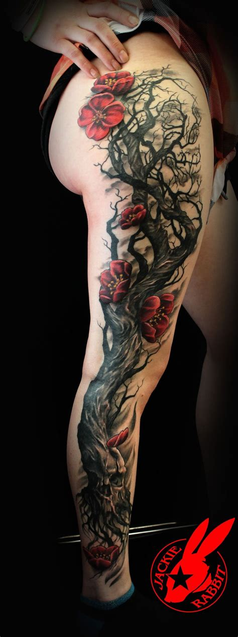 jade tattoo skull tree cherry blossom by jackie rabbit