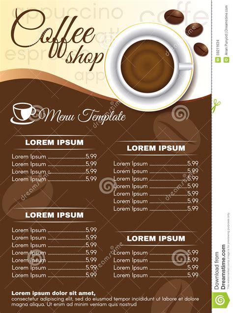 design coffee shop menu layout brown coffee shop menu order vector design stock vector