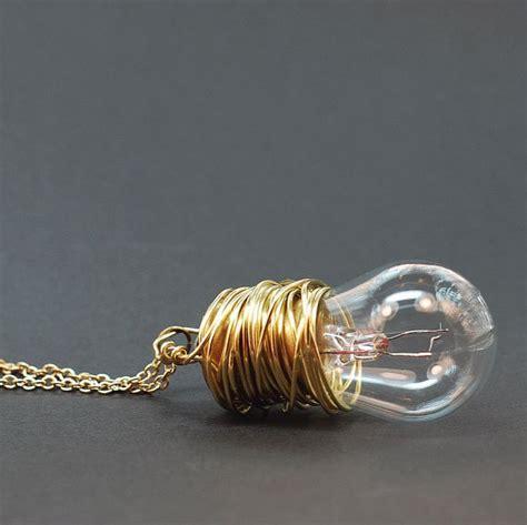 upcycled light bulbs steunk necklace brass upcycled light bulb necklace by