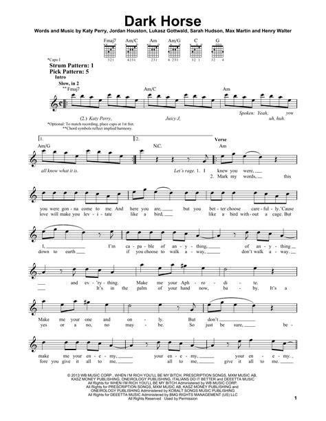 printable lyrics to dark horse dark horse sheet music by katy perry easy guitar 156096